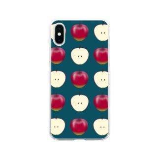 ちょっと毒々しい赤リンゴ柄 Soft clear smartphone cases