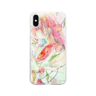 チューリップ柄とセーラー Soft clear smartphone cases