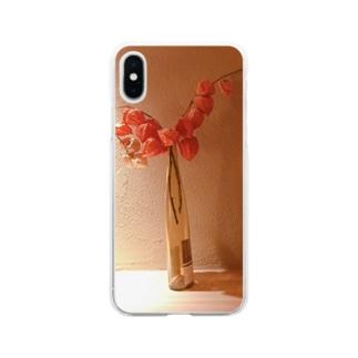 暖かみオレンジ Soft clear smartphone cases