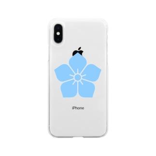 明智光秀(水色桔梗紋) Soft Clear Smartphone Case