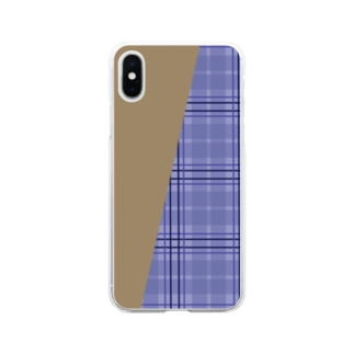 TinyMiry(タイニーミリー)のチェック×無地 切り返し(ラベンダーブルー/キャメル) Soft clear smartphone cases