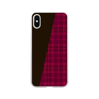 チェック×無地 切り返し(ストロベリーレッド/ダークショコラブラウン) Soft clear smartphone cases