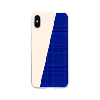 チェック×無地 切り返し(サファイアブルー/ミルクティー) Soft clear smartphone cases