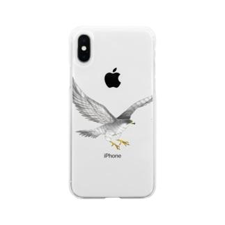 隼ファルコン【まめるりはことり】 Soft clear smartphone cases