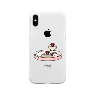 いつでもなかよし文鳥【まめるりはことり】 Soft clear smartphone cases