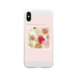 つまみ細工 Soft clear smartphone cases