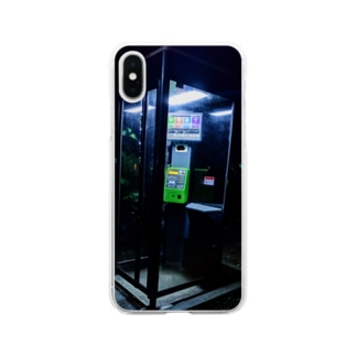 夜の公衆電話 Soft clear smartphone cases
