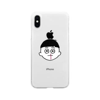 ノンタイトルぼっちゃん Soft clear smartphone cases