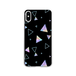 三角形(黒) Soft clear smartphone cases