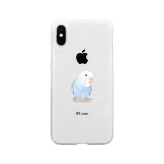 おしゃまな止まり木セキセイインコちゃん【まめるりはことり】 Soft clear smartphone cases
