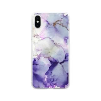 紫の花 Soft clear smartphone cases