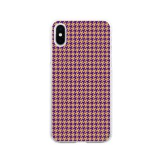 千鳥格子(テーマ:レーズンサンド) Soft clear smartphone cases