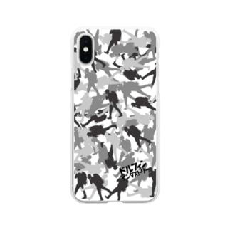 ドルフィンインダストリー&ストックヤード Official storeのスマホケース・シルバーカモフラ Soft clear smartphone cases