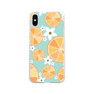 【オレンジ詰め合わせ】爽やか柄物柑橘系 Soft clear smartphone cases