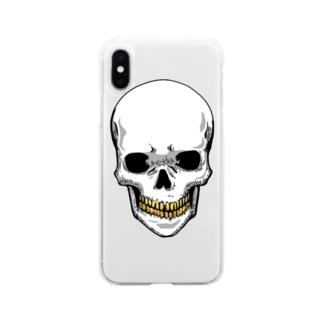 スカル【金歯】 Soft clear smartphone cases