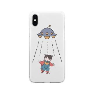UFOと女の子(色付) Soft clear smartphone cases