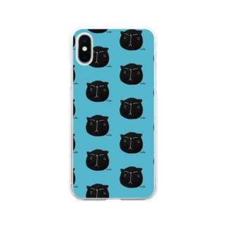 黒にゃんこ🎶 Soft clear smartphone cases