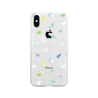 たっぷりセキセイインコちゃん【まめるりはことり】 Soft clear smartphone cases