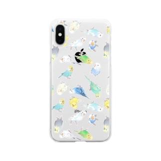 めっちゃセキセイインコちゃん【まめるりはことり】 Soft clear smartphone cases