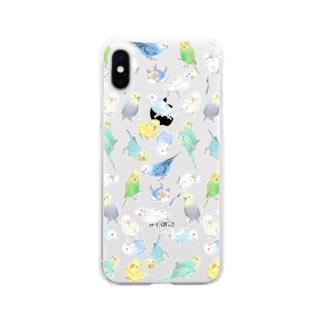 たくさんセキセイインコちゃん【まめるりはことり】 Soft clear smartphone cases