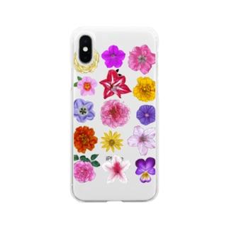 お花寄せ植え 縦長みっちり Soft clear smartphone cases