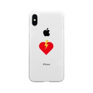 ハートに稲妻 Soft clear smartphone cases