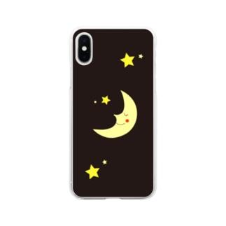 月と星-Moon Shine- Soft clear smartphone cases
