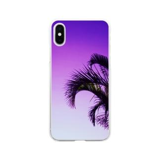 パープルソラトヤシ Soft clear smartphone cases