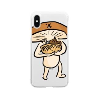 きのこ狩りへ行く椎茸さん Soft clear smartphone cases
