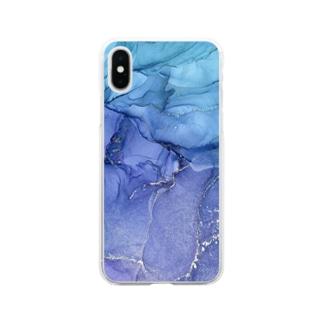 持ち歩けるアルコールインクアート Soft clear smartphone cases
