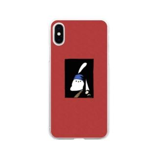 真珠の耳飾りのうさぎ 赤 Soft clear smartphone cases