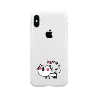 matsukingのルンっルンっネコちゃん Soft clear smartphone cases