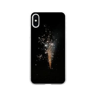 オレンジ花火 Soft clear smartphone cases
