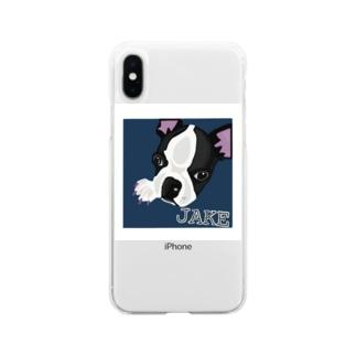 愛犬ジェイク Soft clear smartphone cases