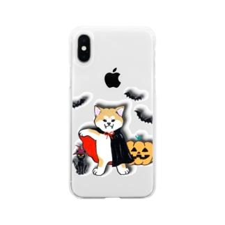 ハロウィン秋田犬🎃 Soft Clear Smartphone Case