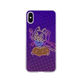 ネオンキャットC(背景あり) Soft clear smartphone cases