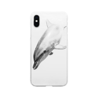 白黒イルカ Soft clear smartphone cases