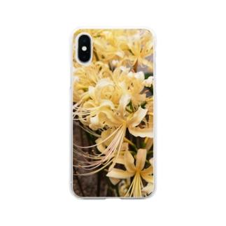 白い曼珠沙華 Soft clear smartphone cases