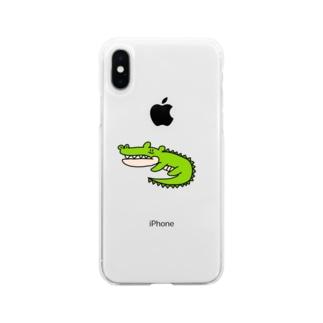 無気力水族館 ワニ Soft clear smartphone cases