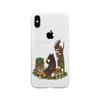 きのことクマ Soft clear smartphone cases