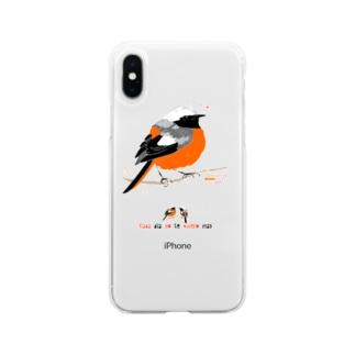 MARU ジョビ丸(大)まるい小鳥 まる過ぎる ジョウビタキ Soft clear smartphone cases