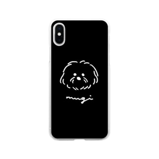 マルチーズのむぎ黒 Soft clear smartphone cases
