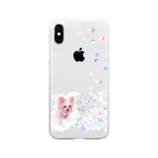 リアル風ヨーキーちゃん。ロングコートにキュートなリボン~縦長~ Soft clear smartphone cases