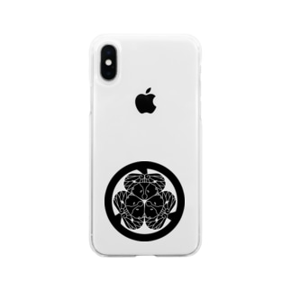 動物家紋。H.T.(三つ葉葵ハシビロコウ) Soft clear smartphone cases