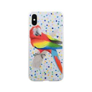 オウム Soft clear smartphone cases