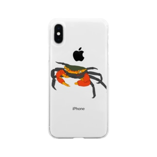アカテガニ Soft clear smartphone cases