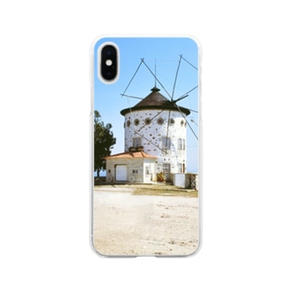 ポルトガル:モンテ・デ・サン・フェリックスの風車 Portugal: Windmills in Monte de São Félix Soft clear smartphone cases