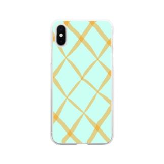 オレンジのチェック Soft clear smartphone cases