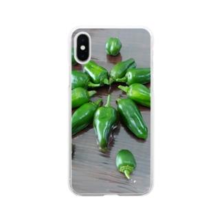 リアルピーマン~お花のかたち Soft clear smartphone cases