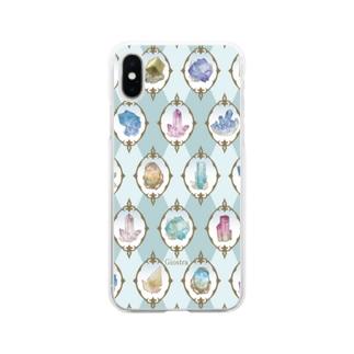鉱物柄 白1 Soft clear smartphone cases